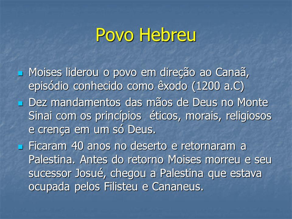 Povo Hebreu Moises liderou o povo em direção ao Canaã, episódio conhecido como êxodo (1200 a.C) Moises liderou o povo em direção ao Canaã, episódio co