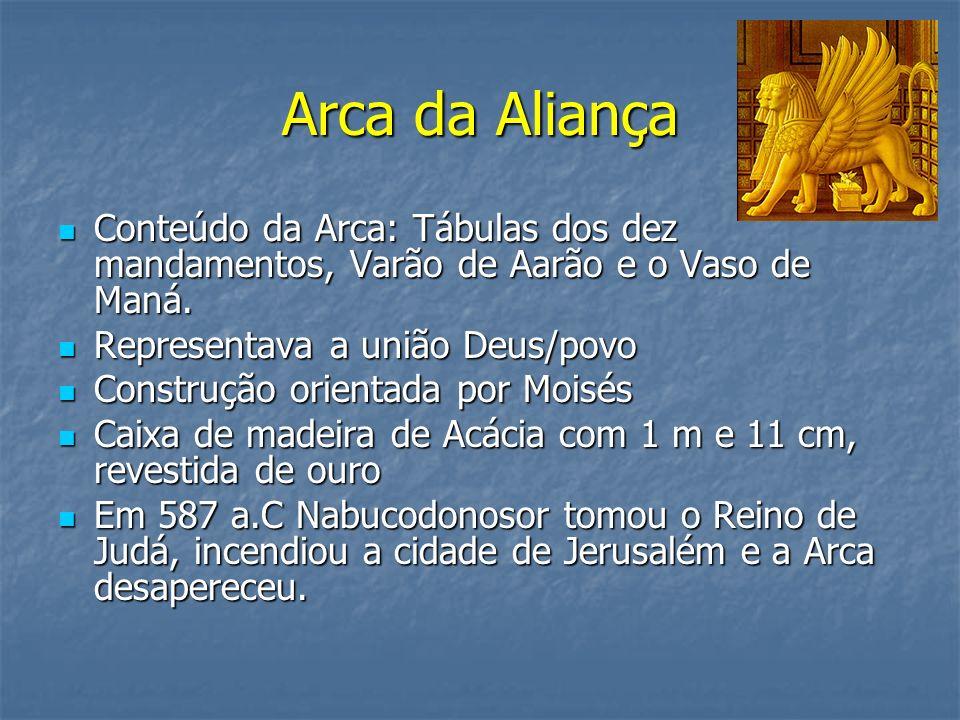 Arca da Aliança Conteúdo da Arca: Tábulas dos dez mandamentos, Varão de Aarão e o Vaso de Maná. Conteúdo da Arca: Tábulas dos dez mandamentos, Varão d