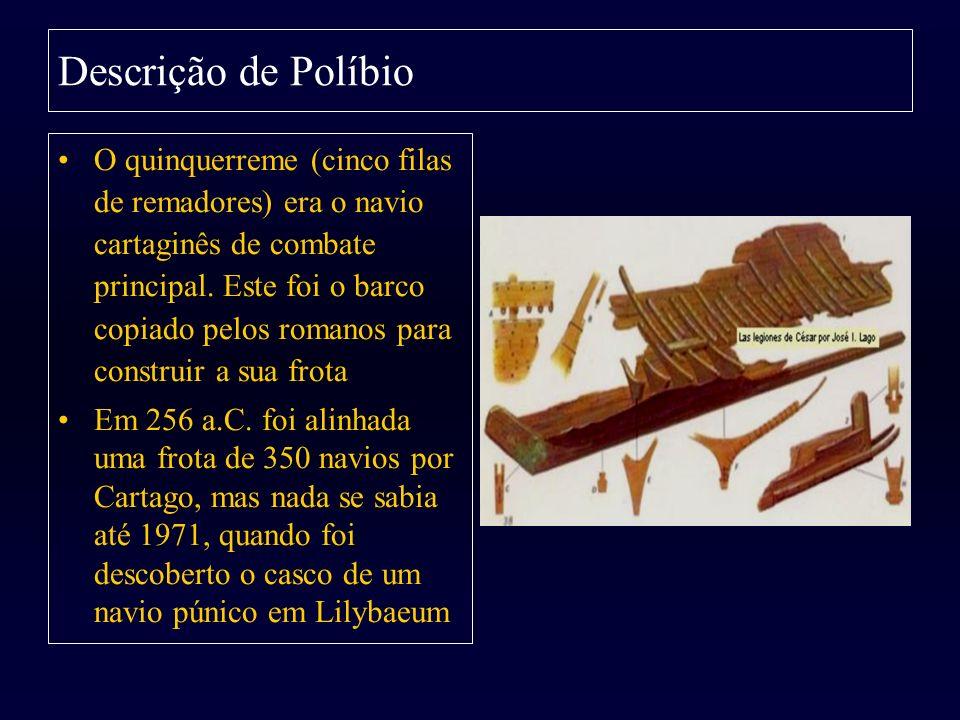 Descrição de Políbio O quinquerreme (cinco filas de remadores) era o navio cartaginês de combate principal. Este foi o barco copiado pelos romanos par