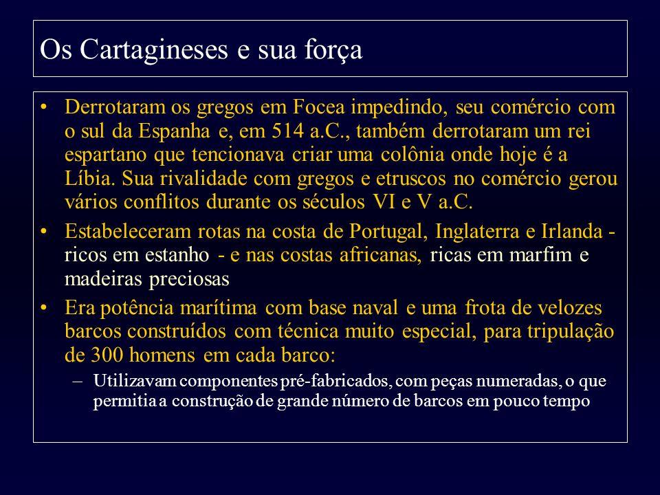 Os Cartagineses e sua força Derrotaram os gregos em Focea impedindo, seu comércio com o sul da Espanha e, em 514 a.C., também derrotaram um rei espart