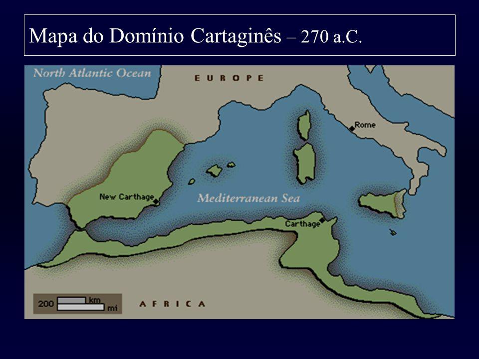 Mapa do Domínio Cartaginês – 270 a.C.