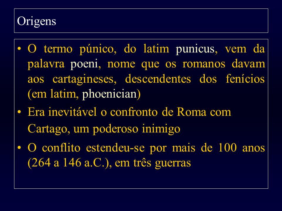 A Base dos Exércitos Romanos As legiões romanas: cifra em torno de 5.500 homens em cada legião –As legiões tinham 60 centúrias de 80 homens –Duas centúrias formavam um manípulo –30 manípulos de 160 legionários cada, formava uma legião Eram acrescidas às legiões: –Tropas ligeiras –Cavalaria com 300 soldados divididos em 10 grupos de 30 jinetes O número de legiões alistadas dependia sempre da necessidade Também as cidades italianas tinham a obrigação de aportar por cada legião romana um contingente igual de tropas Cada Cônsul podia alistar duas legiões e mais dois contingentes aliados Assim, um exército romano normal constava de uns 22.000 homens –A metade desses eram romanos –A outra, das cidades aliadas italianas, submetidas a vontade militar de Roma