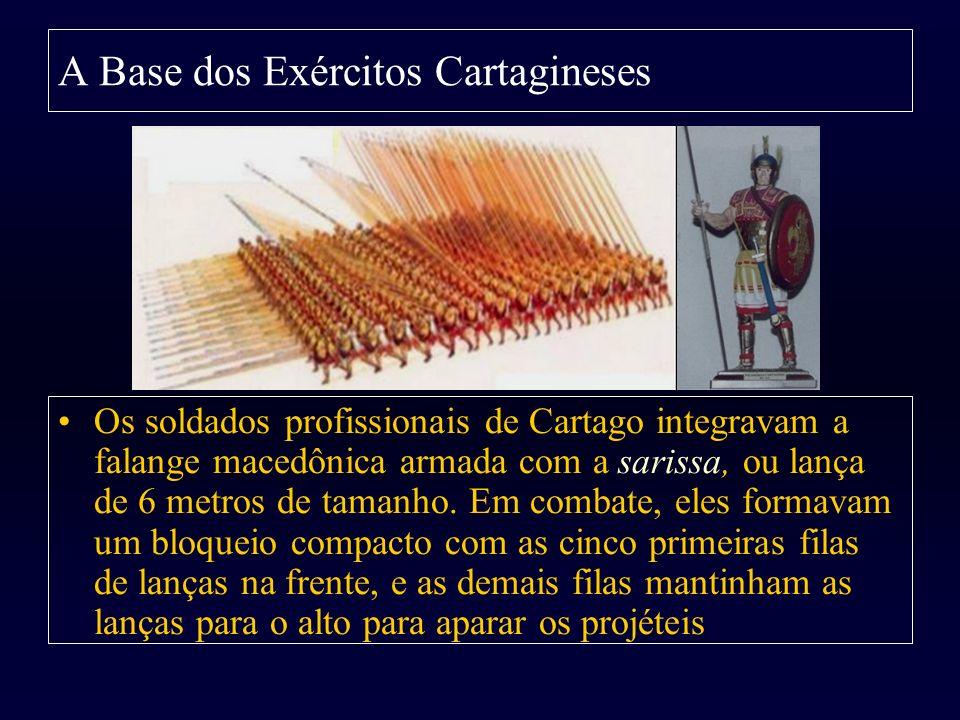 A Base dos Exércitos Cartagineses Os soldados profissionais de Cartago integravam a falange macedônica armada com a sarissa, ou lança de 6 metros de t