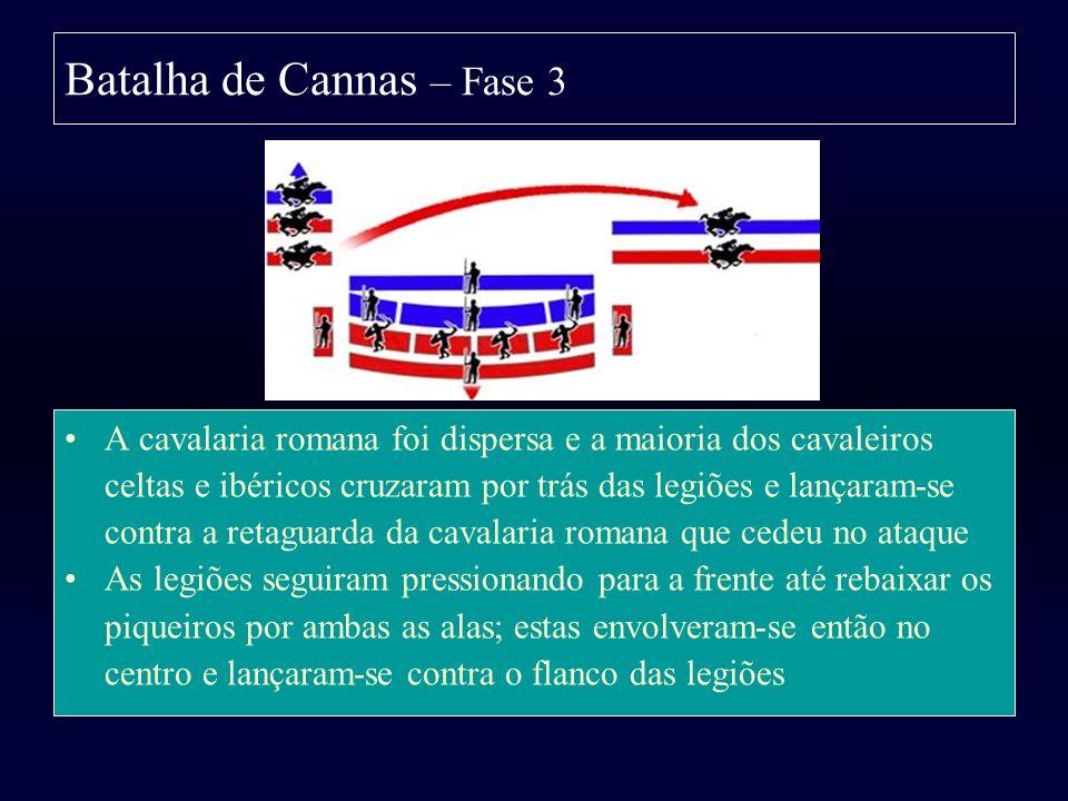 Batalha de Cannas – Fase 3 A cavalaria romana foi dispersa e a maioria dos cavaleiros celtas e ibéricos cruzaram por trás das legiões e lançaram-se co