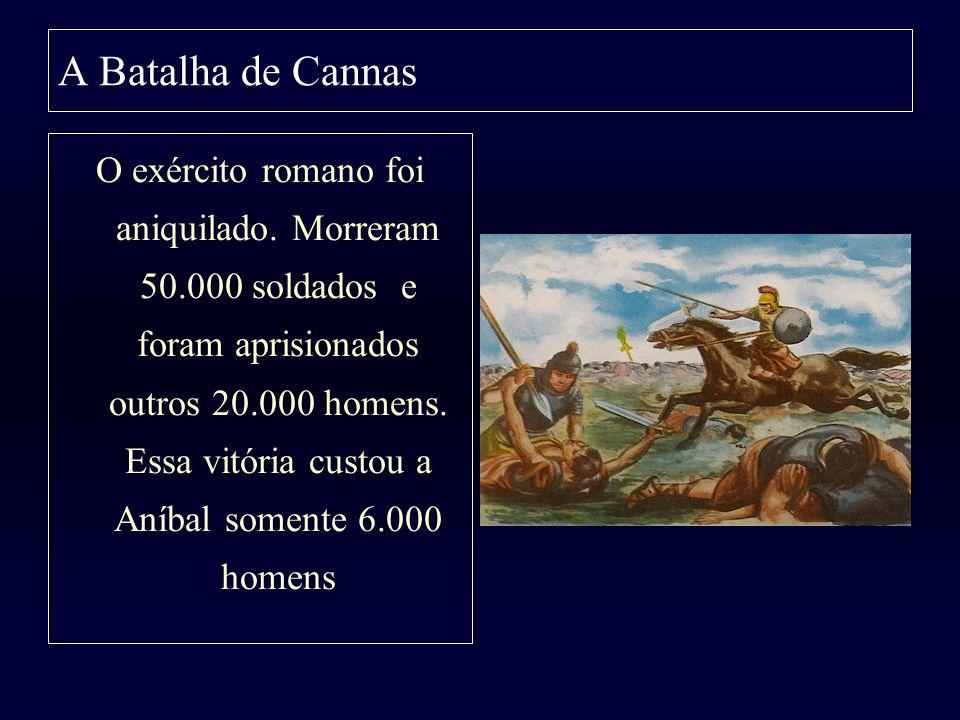 A Batalha de Cannas O exército romano foi aniquilado. Morreram 50.000 soldados e foram aprisionados outros 20.000 homens. Essa vitória custou a Aníbal