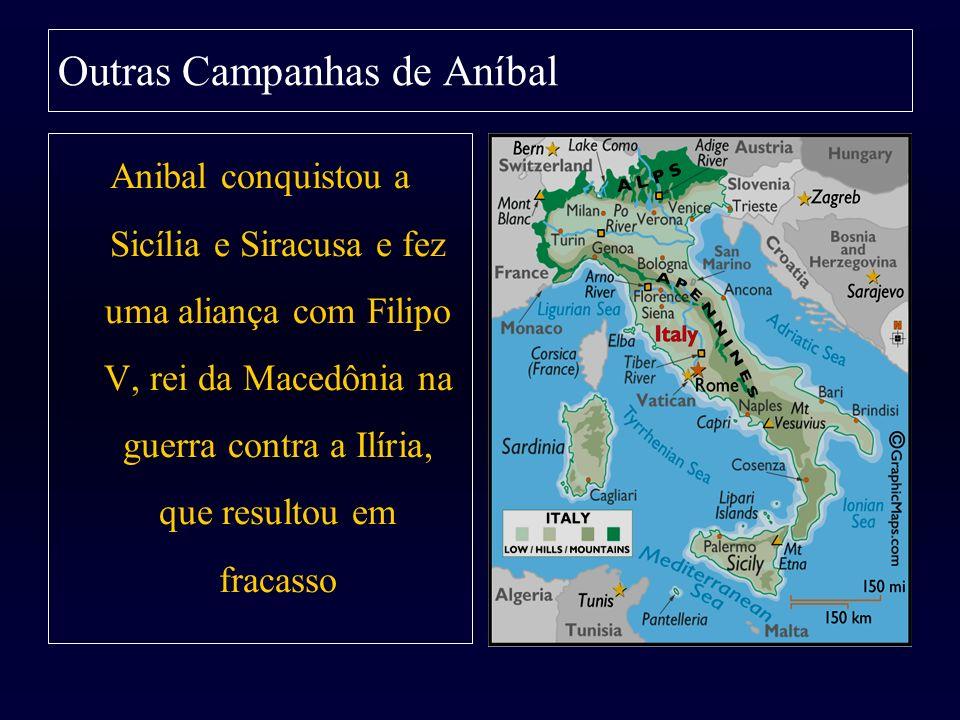 Outras Campanhas de Aníbal Anibal conquistou a Sicília e Siracusa e fez uma aliança com Filipo V, rei da Macedônia na guerra contra a Ilíria, que resu