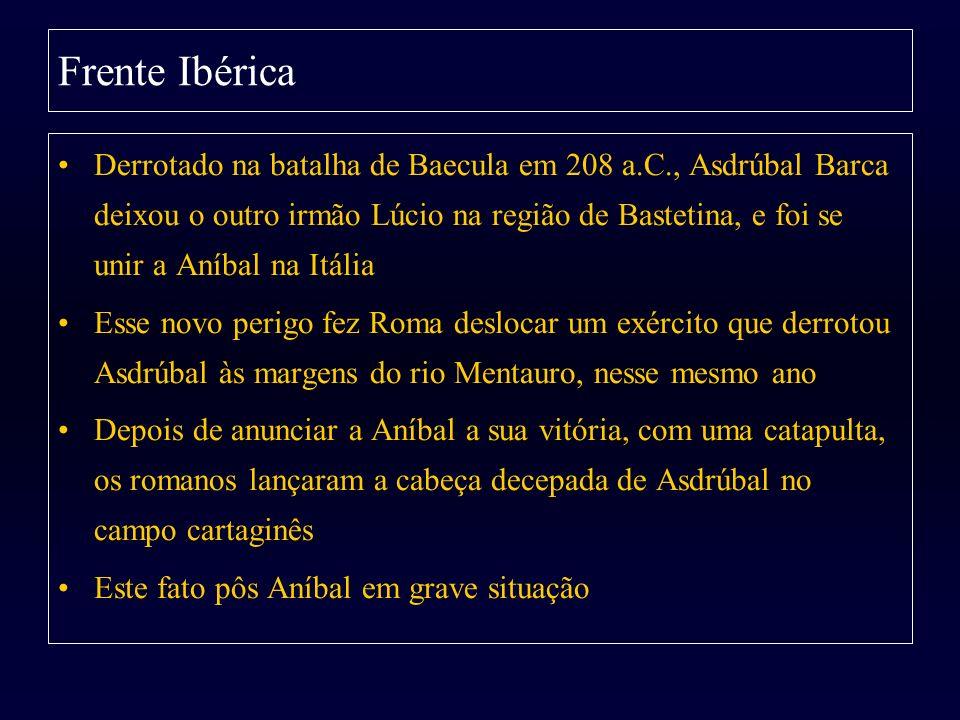 Derrotado na batalha de Baecula em 208 a.C., Asdrúbal Barca deixou o outro irmão Lúcio na região de Bastetina, e foi se unir a Aníbal na Itália Esse n
