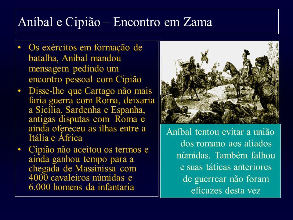 Aníbal e Cipião – Encontro em Zama Os exércitos em formação de batalha, Aníbal mandou mensagem pedindo um encontro pessoal com Cipião Disse-lhe que Ca