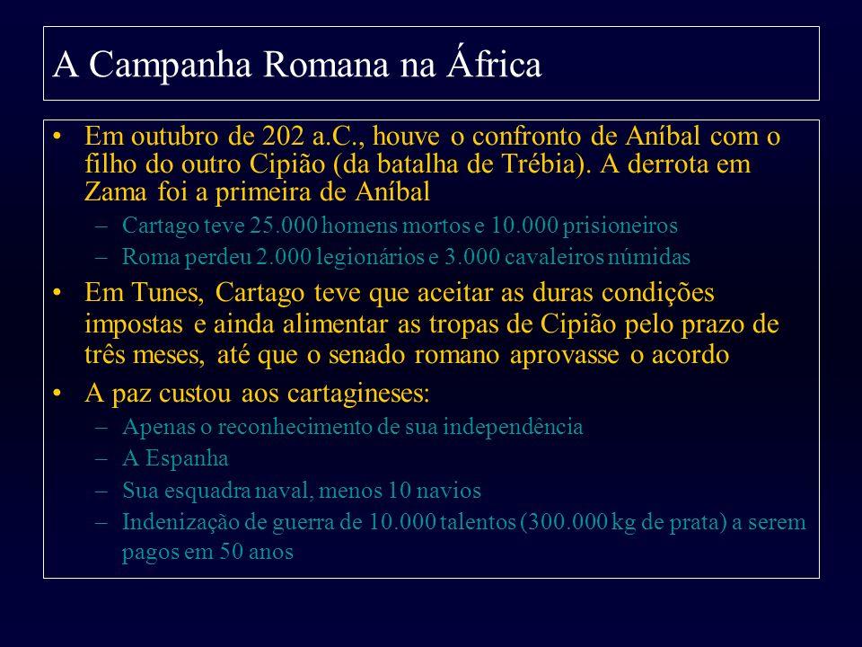 Em outubro de 202 a.C., houve o confronto de Aníbal com o filho do outro Cipião (da batalha de Trébia). A derrota em Zama foi a primeira de Aníbal –Ca
