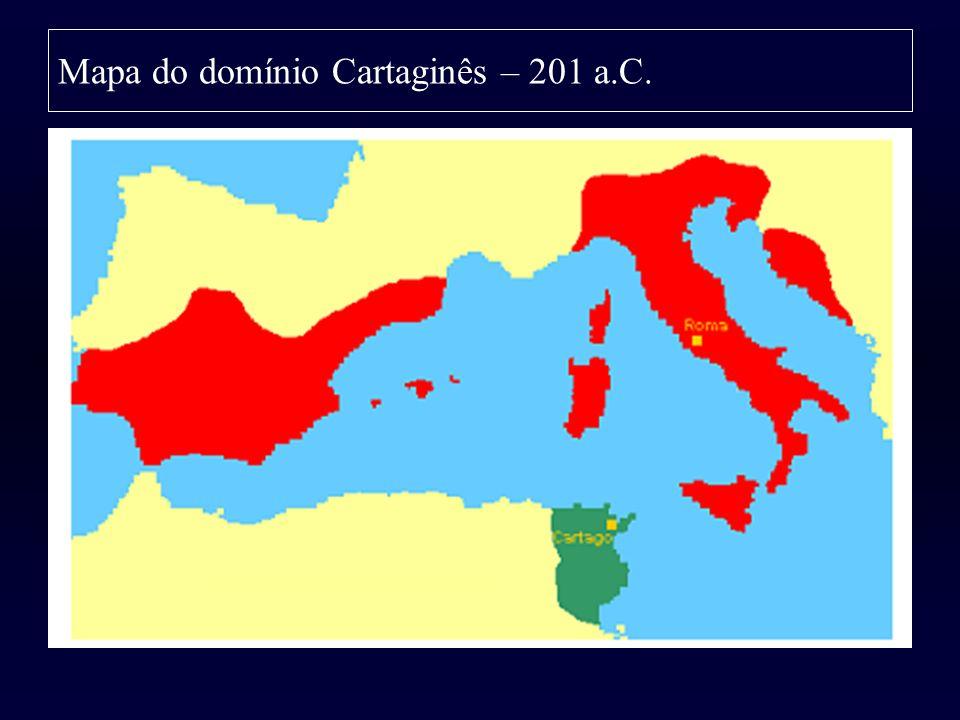 Mapa do domínio Cartaginês – 201 a.C.