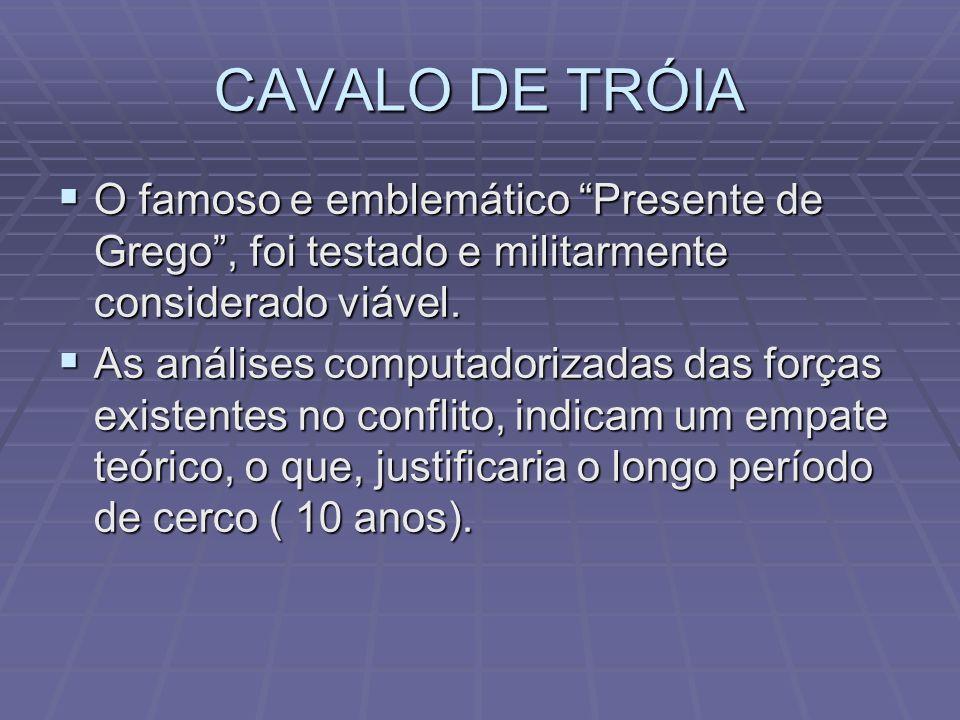 CAVALO DE TRÓIA O famoso e emblemático Presente de Grego, foi testado e militarmente considerado viável. O famoso e emblemático Presente de Grego, foi