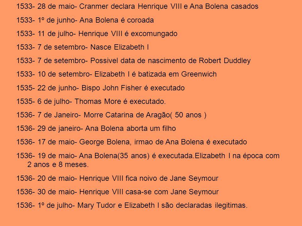 1533- 28 de maio- Cranmer declara Henrique VIII e Ana Bolena casados 1533- 1º de junho- Ana Bolena é coroada 1533- 11 de julho- Henrique VIII é excomu