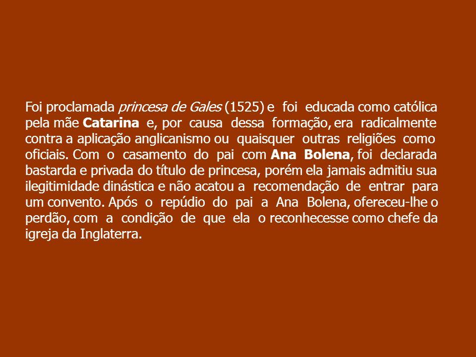 Foi proclamada princesa de Gales (1525) e foi educada como católica pela mãe Catarina e, por causa dessa formação, era radicalmente contra a aplicação