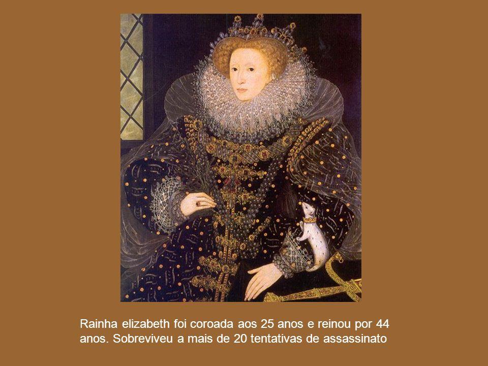 Rainha elizabeth foi coroada aos 25 anos e reinou por 44 anos. Sobreviveu a mais de 20 tentativas de assassinato