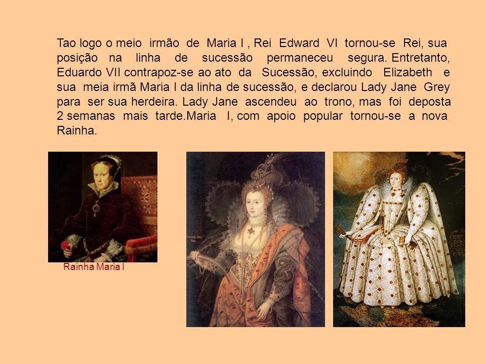 Tao logo o meio irmão de Maria I, Rei Edward VI tornou-se Rei, sua posição na linha de sucessão permaneceu segura. Entretanto, Eduardo VII contrapoz-s