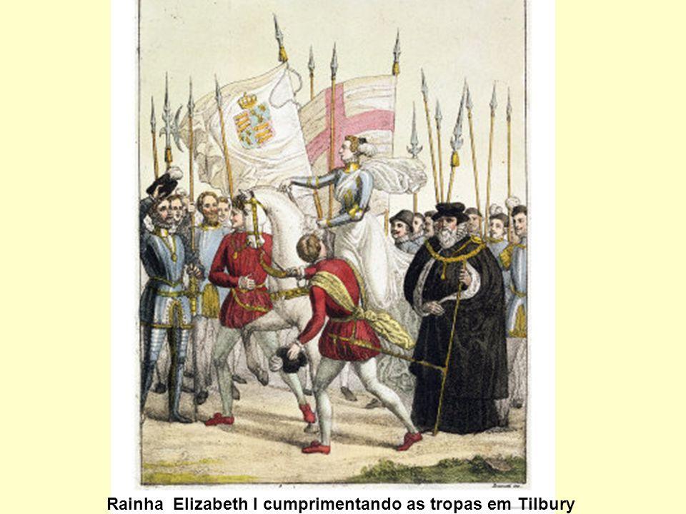Rainha Elizabeth I cumprimentando as tropas em Tilbury