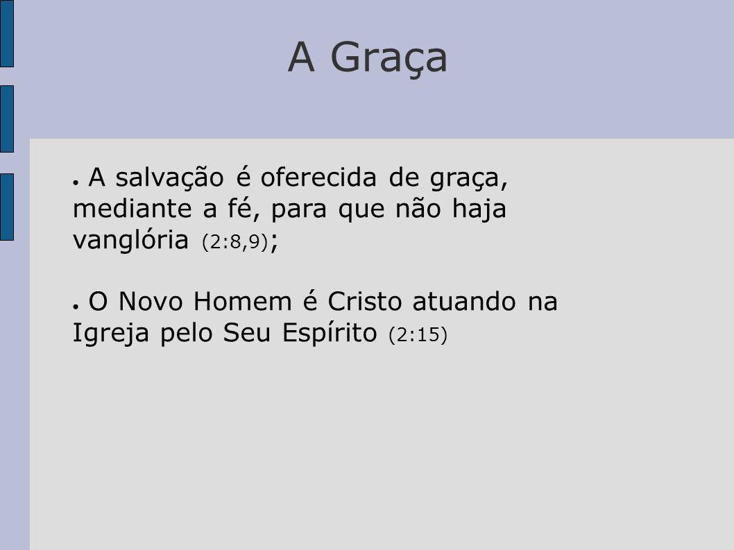 A Graça A salvação é oferecida de graça, mediante a fé, para que não haja vanglória (2:8,9) ; O Novo Homem é Cristo atuando na Igreja pelo Seu Espírit