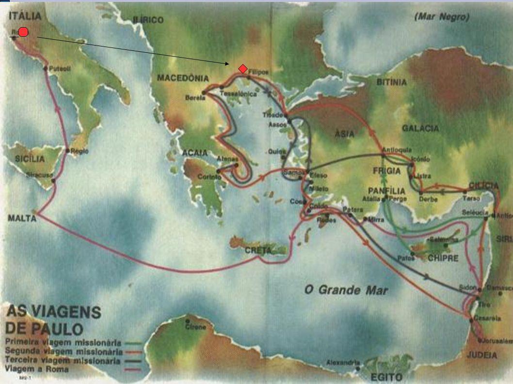 A cidade de Filipos Por ser uma cidade cosmopolita, Filipos misturava tradições gregas e latinas Fica hoje Grécia.