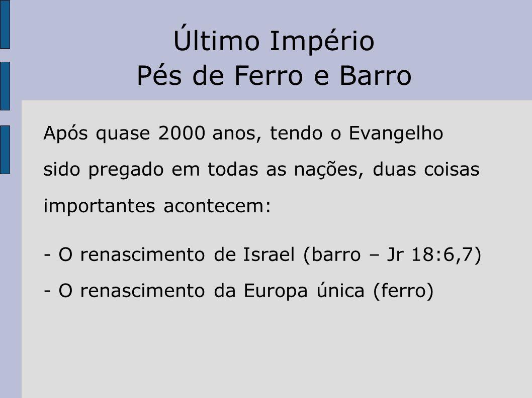 Após quase 2000 anos, tendo o Evangelho sido pregado em todas as nações, duas coisas importantes acontecem: - O renascimento de Israel (barro – Jr 18: