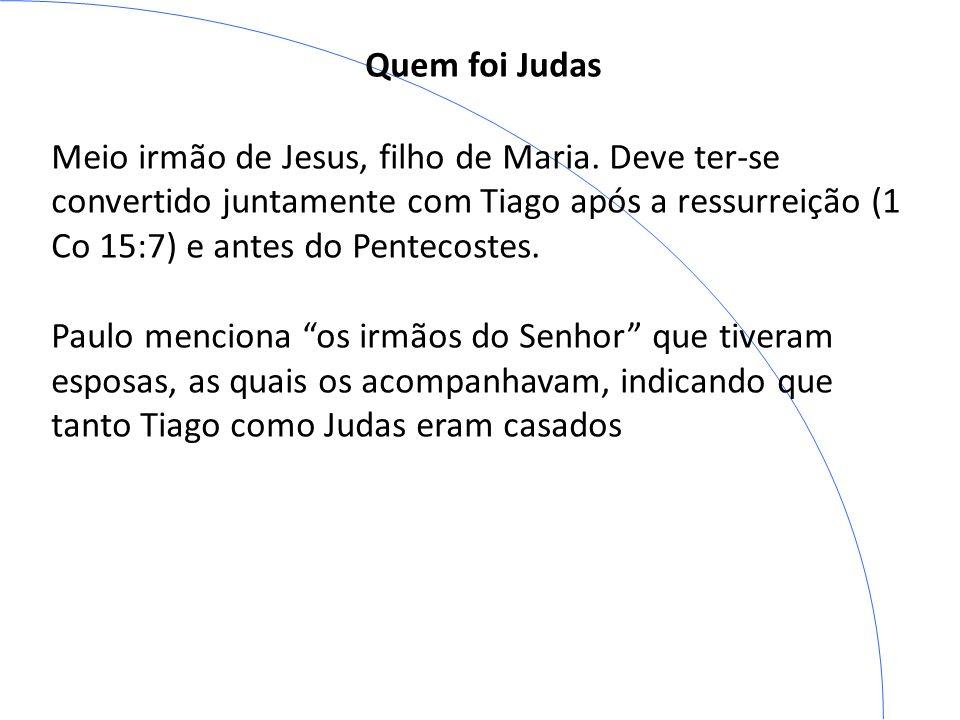 Quem foi Judas Meio irmão de Jesus, filho de Maria. Deve ter-se convertido juntamente com Tiago após a ressurreição (1 Co 15:7) e antes do Pentecostes
