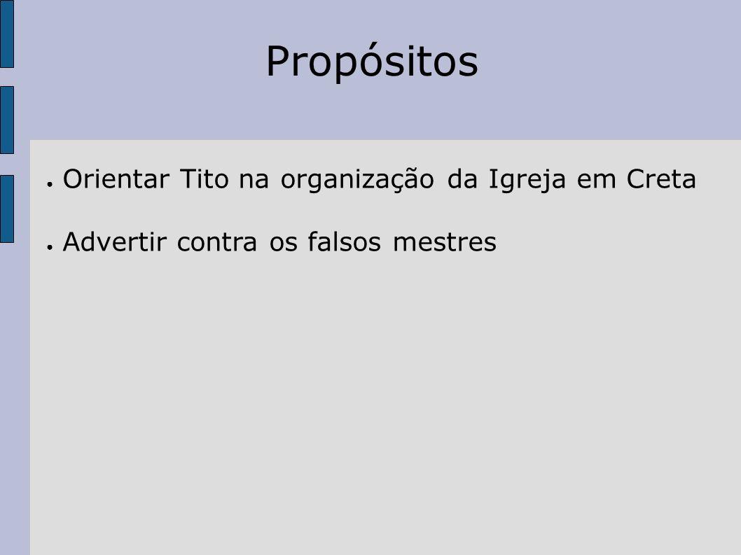 Propósitos Orientar Tito na organização da Igreja em Creta Advertir contra os falsos mestres