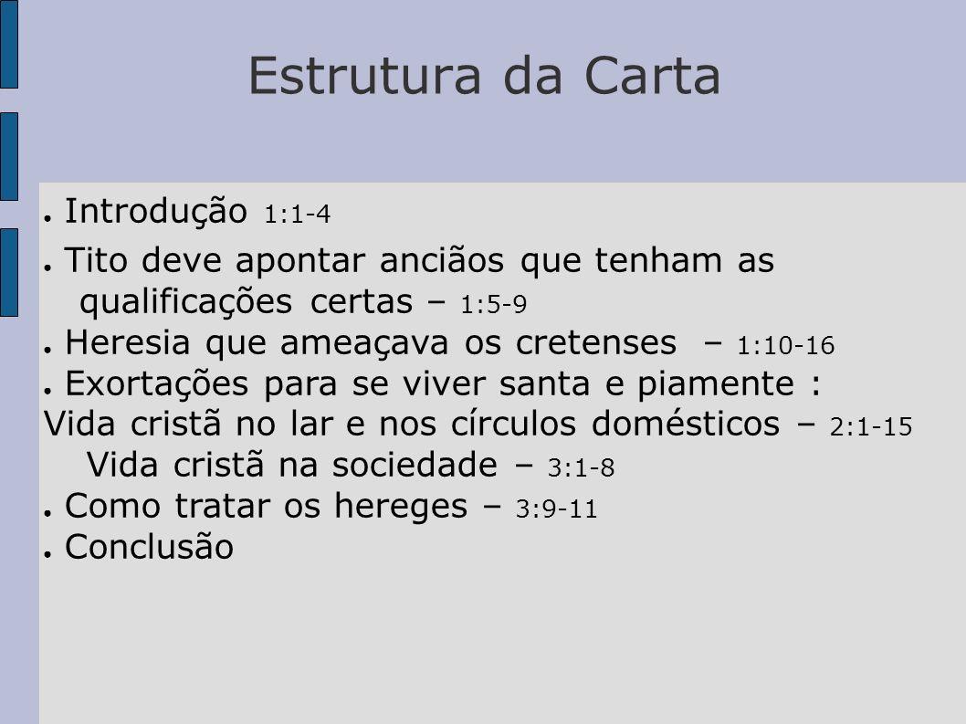 Estrutura da Carta Introdução 1:1-4 Tito deve apontar anciãos que tenham as qualificações certas – 1:5-9 Heresia que ameaçava os cretenses – 1:10-16 E