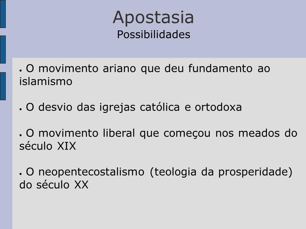 Apostasia Possibilidades O movimento ariano que deu fundamento ao islamismo O desvio das igrejas católica e ortodoxa O movimento liberal que começou n