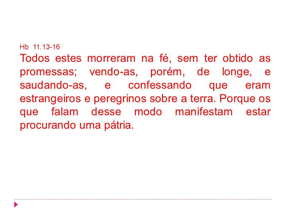 Hb 11.13-16 Todos estes morreram na fé, sem ter obtido as promessas; vendo-as, porém, de longe, e saudando-as, e confessando que eram estrangeiros e p