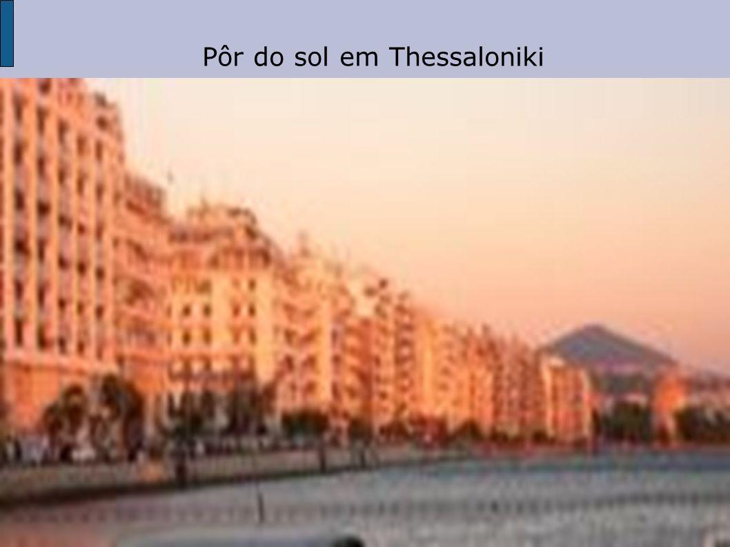 Pôr do sol em Thessaloniki