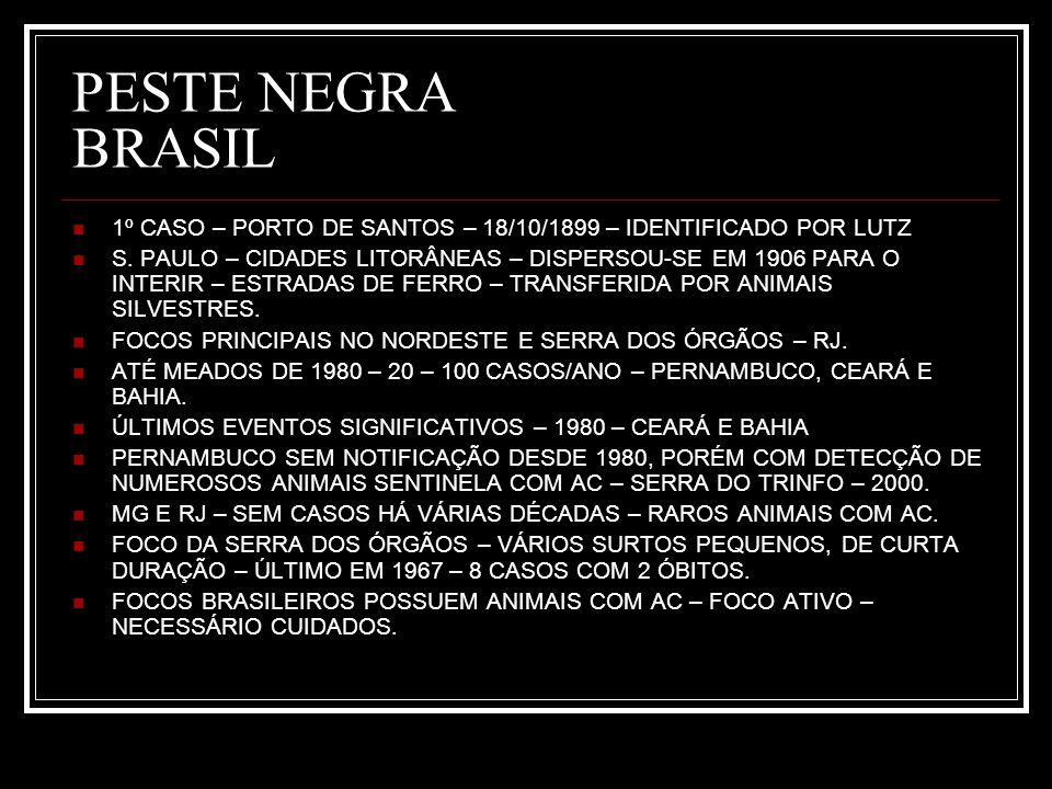 PESTE NEGRA BRASIL 1º CASO – PORTO DE SANTOS – 18/10/1899 – IDENTIFICADO POR LUTZ S. PAULO – CIDADES LITORÂNEAS – DISPERSOU-SE EM 1906 PARA O INTERIR