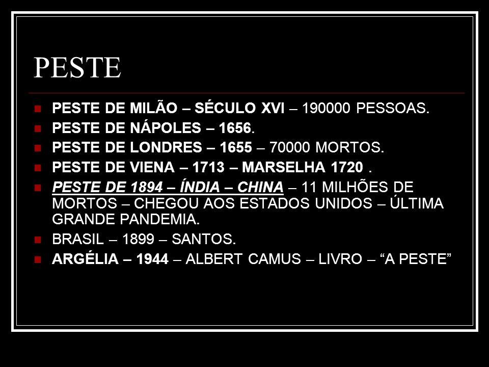 PESTE PESTE DE MILÃO – SÉCULO XVI – 190000 PESSOAS. PESTE DE NÁPOLES – 1656. PESTE DE LONDRES – 1655 – 70000 MORTOS. PESTE DE VIENA – 1713 – MARSELHA