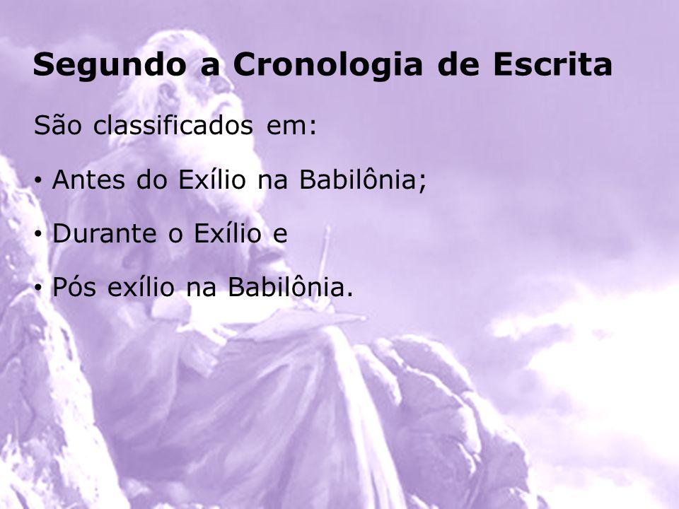 Para facilitar, podemos memorizar da seguinte forma: 3 profetas após o exílio: Ageu, Zacarias e Malaquias 2 profetas durante o exílio: Daniel e Ezequiel Todos os demais profetas são antes do exílio