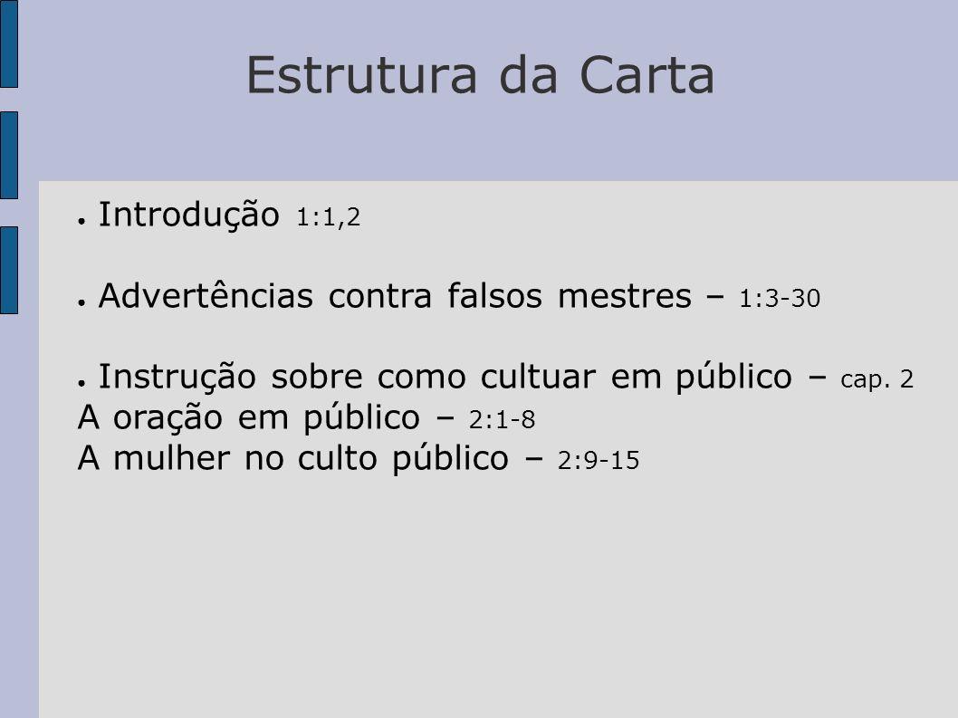 Estrutura da Carta Introdução 1:1,2 Advertências contra falsos mestres – 1:3-30 Instrução sobre como cultuar em público – cap. 2 A oração em público –