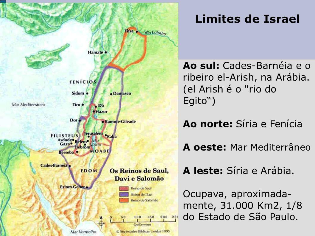 Limites de Israel Ao sul: Cades-Barnéia e o ribeiro el-Arish, na Arábia. (el Arish é o