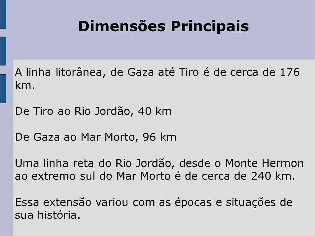 Dimensões Principais A linha litorânea, de Gaza até Tiro é de cerca de 176 km. De Tiro ao Rio Jordão, 40 km De Gaza ao Mar Morto, 96 km Uma linha reta