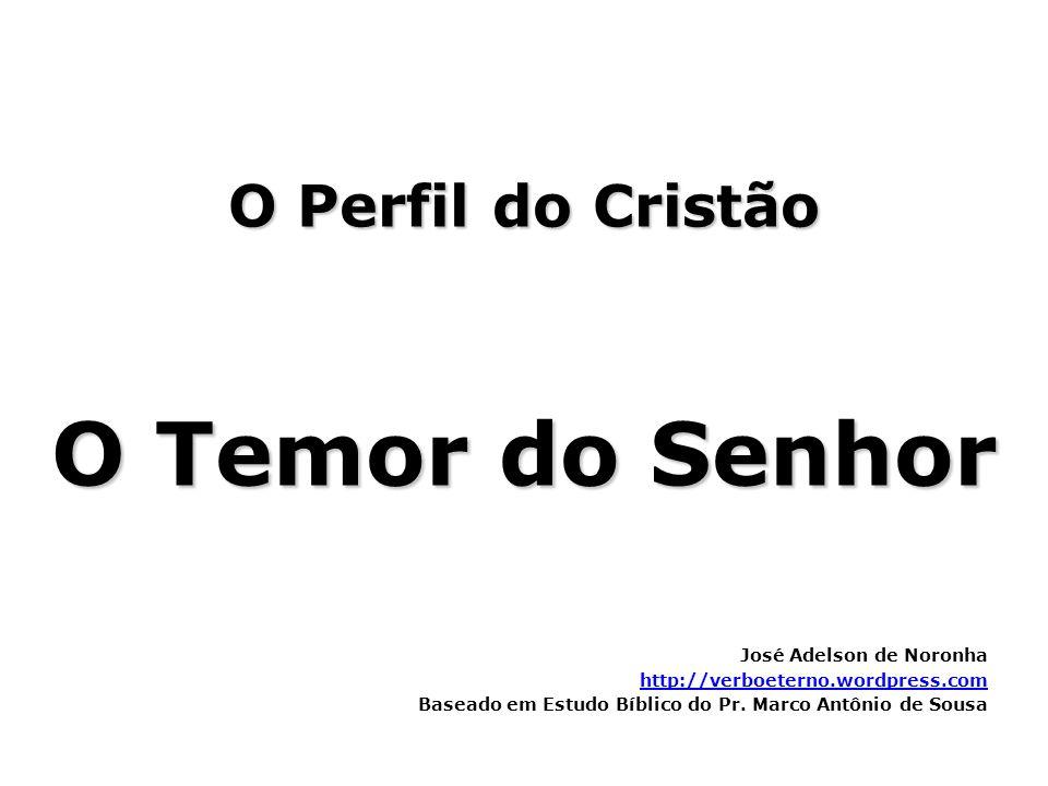 O Perfil do Cristão O Temor do Senhor José Adelson de Noronha http://verboeterno.wordpress.com Baseado em Estudo Bíblico do Pr. Marco Antônio de Sousa
