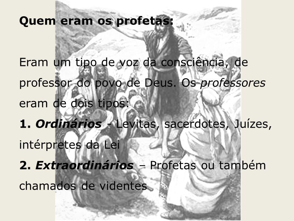 Quem eram os profetas: Eram um tipo de voz da consciência, de professor do povo de Deus. Os professores eram de dois tipos: 1. Ordinários - Levitas, s