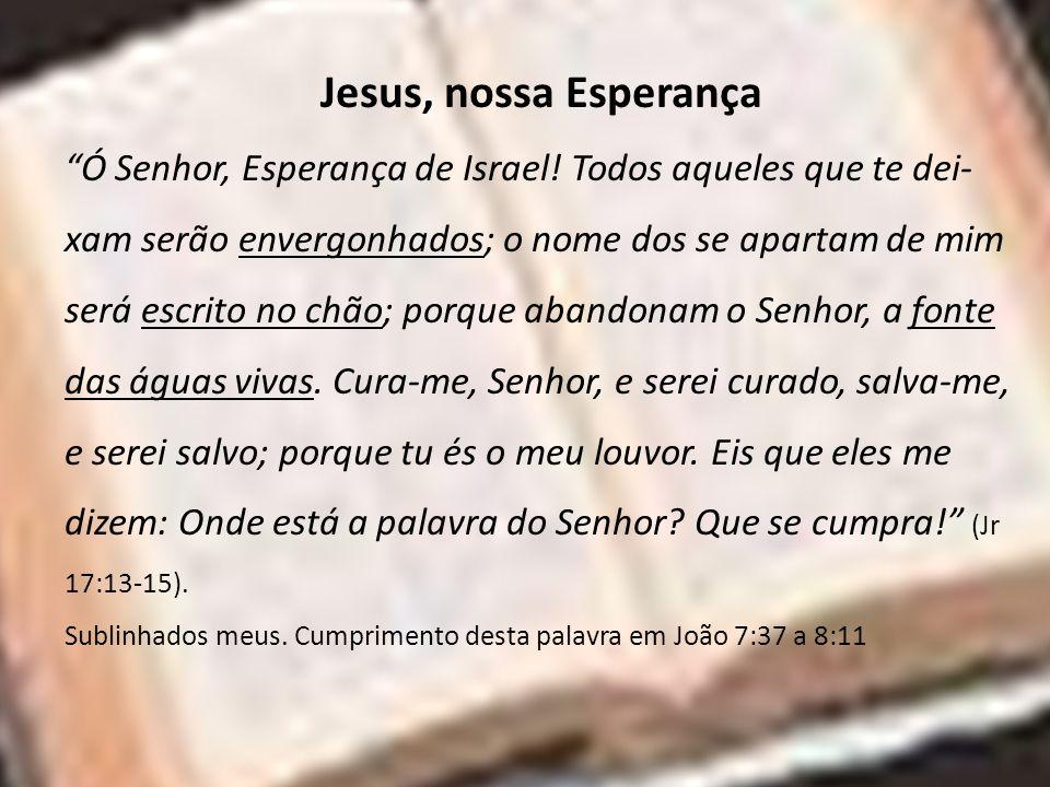 Jesus, nossa Esperança Ó Senhor, Esperança de Israel! Todos aqueles que te dei- xam serão envergonhados; o nome dos se apartam de mim será escrito no