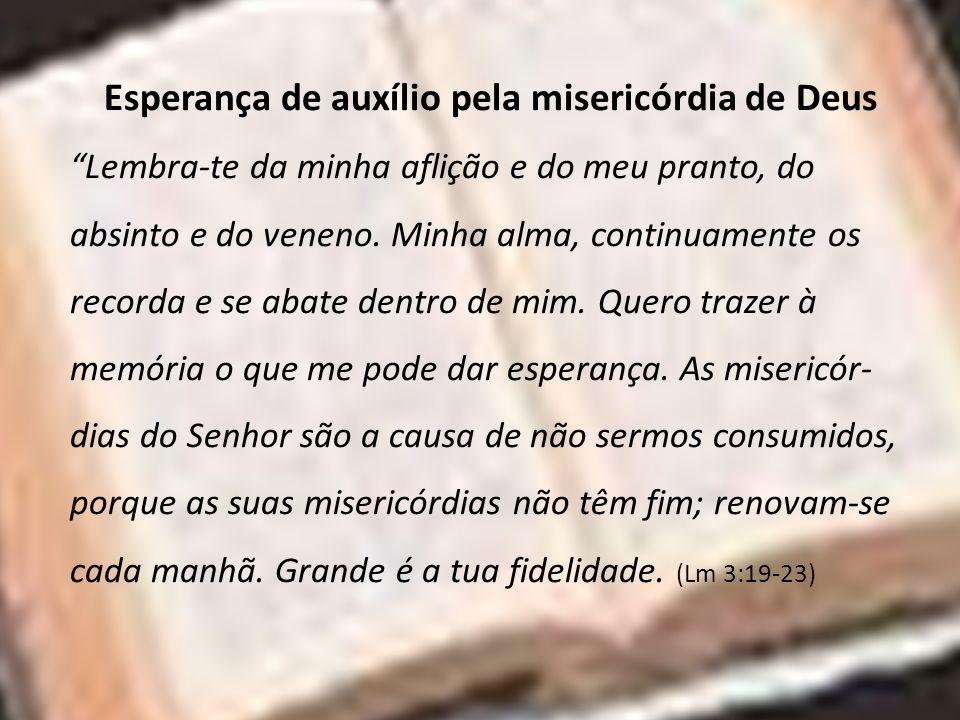 Esperança de auxílio pela misericórdia de Deus Lembra-te da minha aflição e do meu pranto, do absinto e do veneno. Minha alma, continuamente os record