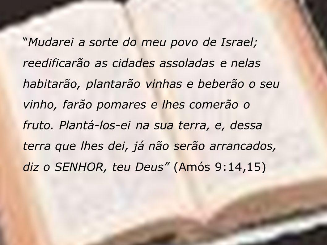 Mudarei a sorte do meu povo de Israel; reedificarão as cidades assoladas e nelas habitarão, plantarão vinhas e beberão o seu vinho, farão pomares e lh