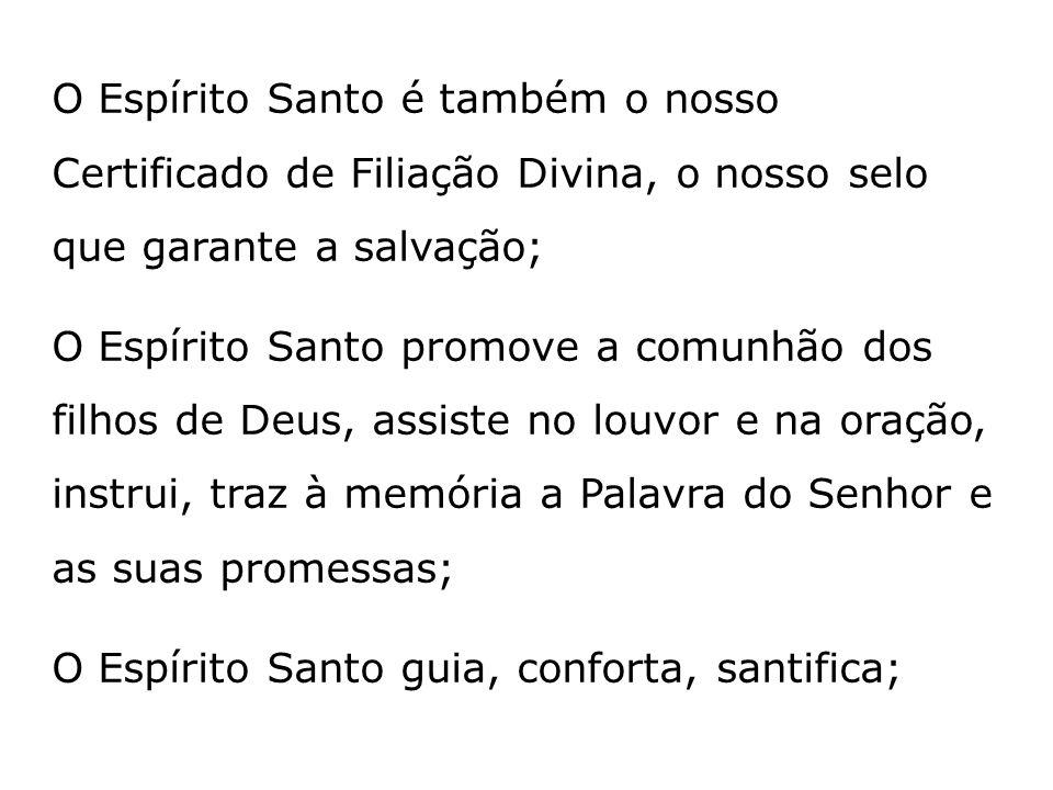O Espírito Santo é também o nosso Certificado de Filiação Divina, o nosso selo que garante a salvação; O Espírito Santo promove a comunhão dos filhos