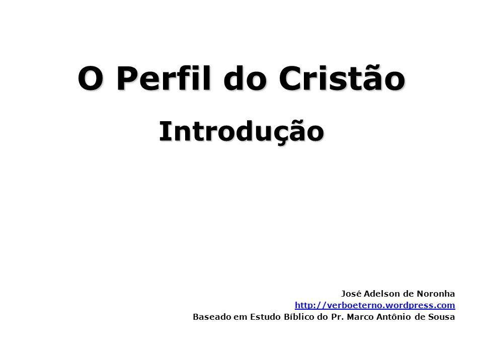 O Perfil do Cristão Introdução José Adelson de Noronha http://verboeterno.wordpress.com Baseado em Estudo Bíblico do Pr. Marco Antônio de Sousa