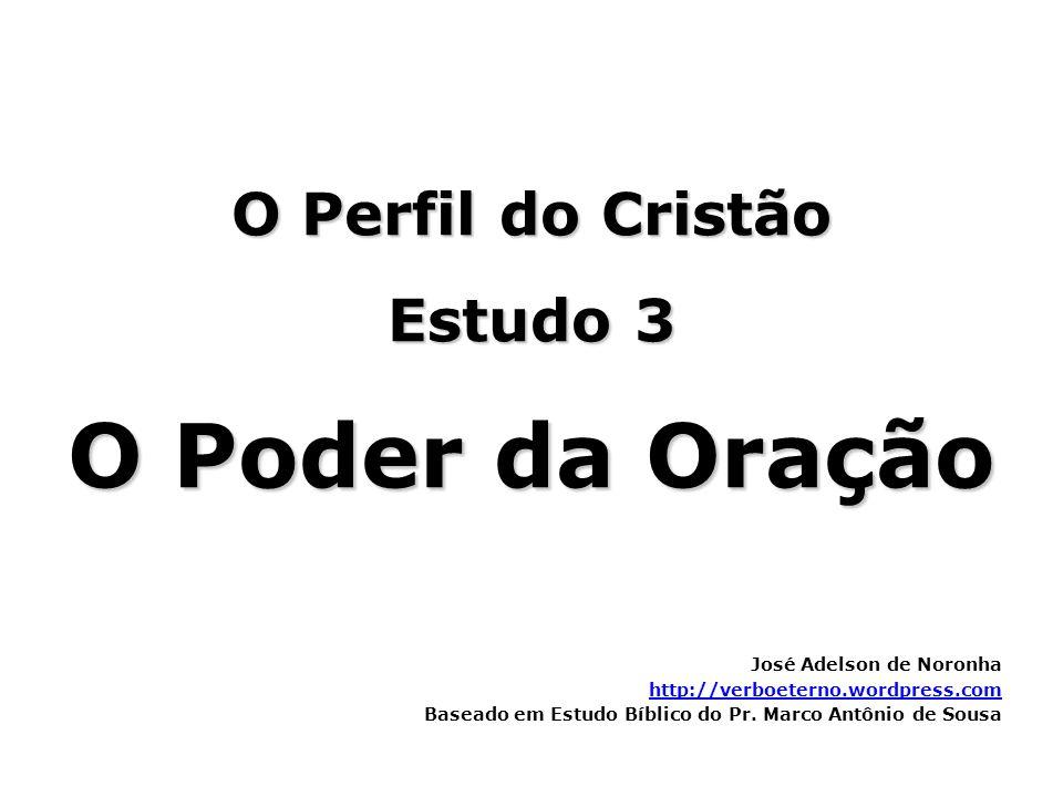 O Perfil do Cristão Estudo 3 O Poder da Oração José Adelson de Noronha http://verboeterno.wordpress.com Baseado em Estudo Bíblico do Pr. Marco Antônio