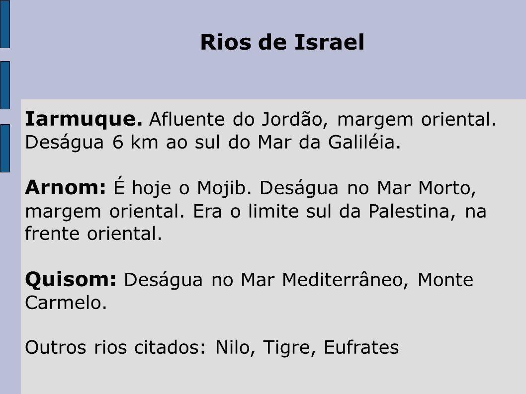 Rios de Israel Iarmuque. Afluente do Jordão, margem oriental. Deságua 6 km ao sul do Mar da Galiléia. Arnom: É hoje o Mojib. Deságua no Mar Morto, mar