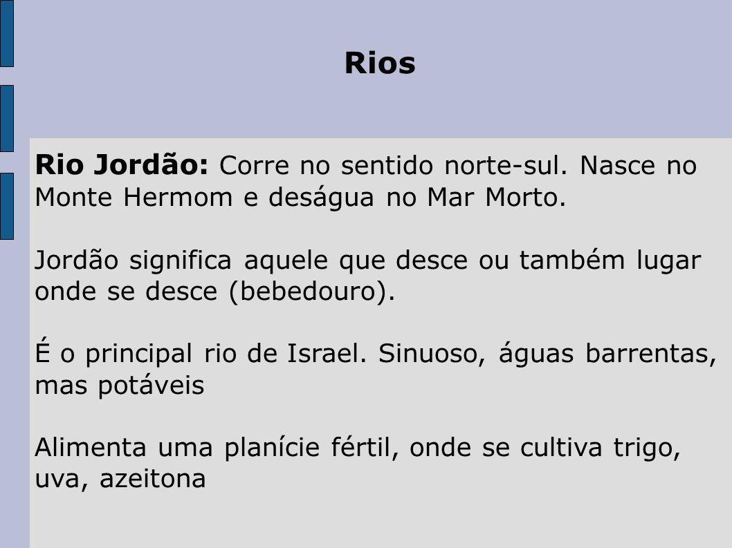 Rios Rio Jordão: Corre no sentido norte-sul. Nasce no Monte Hermom e deságua no Mar Morto. Jordão significa aquele que desce ou também lugar onde se d