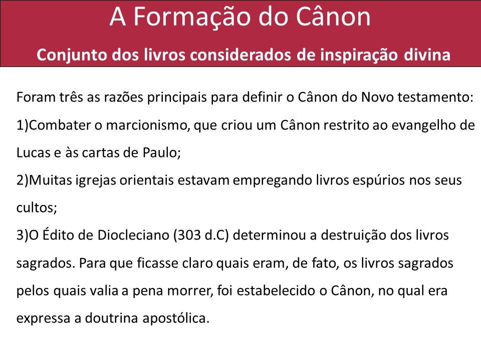 A Formação do Cânon Conjunto dos livros considerados de inspiração divina Foram três as razões principais para definir o Cânon do Novo testamento: 1)C