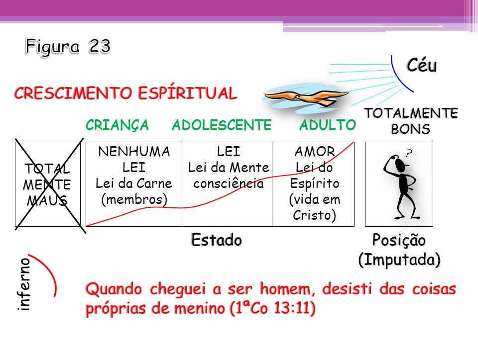 TOTAL MENTE MAUS NENHUMA LEI Lei da Carne (membros) LEI Lei da Mente consciência AMOR Lei do Espírito (vida em Cristo) Posição(Imputada)Estado Quando