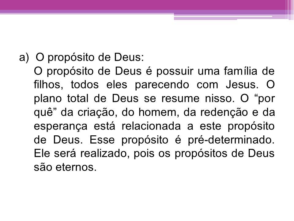 a)O propósito de Deus: O propósito de Deus é possuir uma família de filhos, todos eles parecendo com Jesus. O plano total de Deus se resume nisso. O p