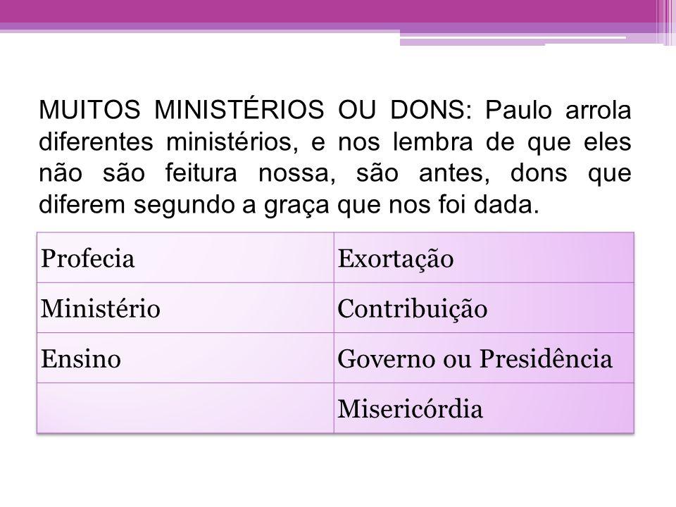 MUITOS MINISTÉRIOS OU DONS: Paulo arrola diferentes ministérios, e nos lembra de que eles não são feitura nossa, são antes, dons que diferem segundo a