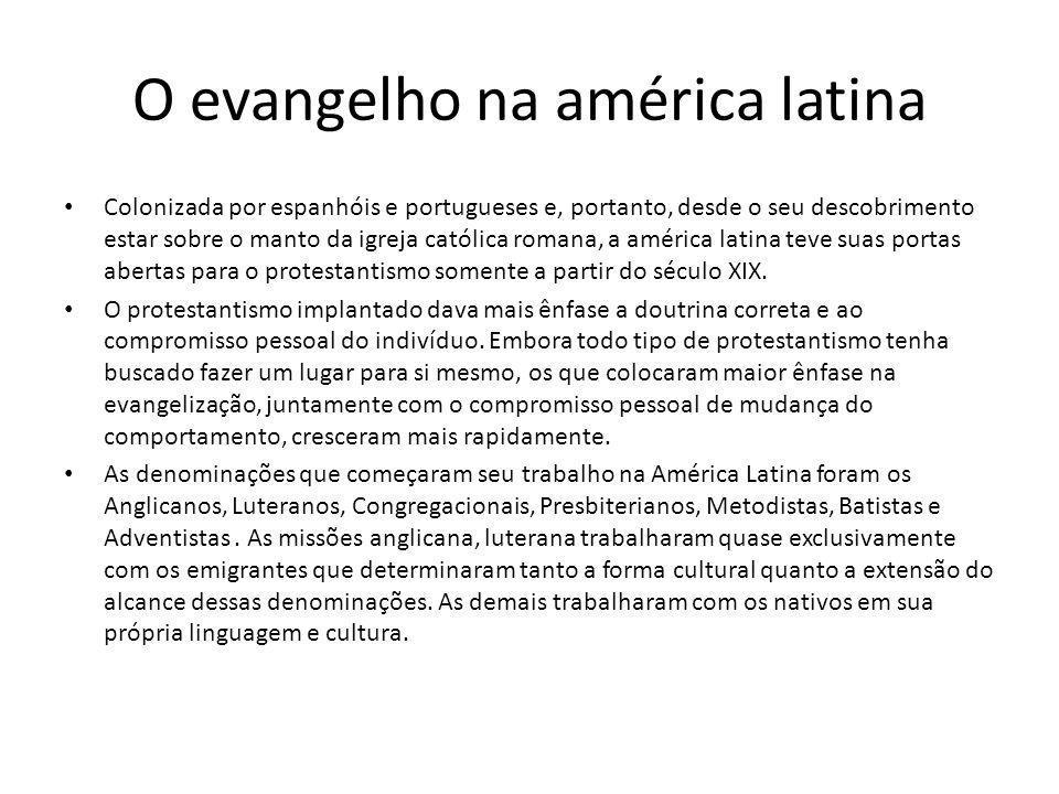 Colonizada por espanhóis e portugueses e, portanto, desde o seu descobrimento estar sobre o manto da igreja católica romana, a américa latina teve sua